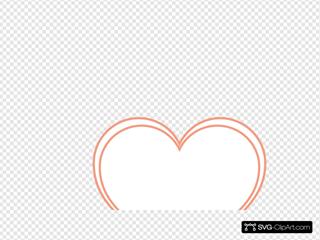 Double Outline Heart Peach