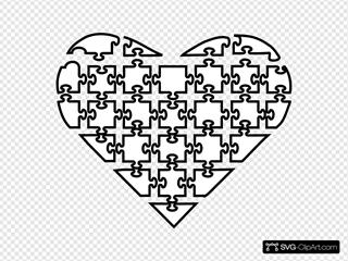 Puzzle Heart SVG Vector, Puzzle Heart Clip art - SVG Clipart