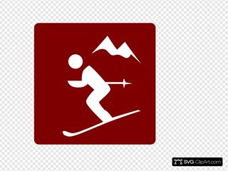 Hotel Icon Ski Area Clip Art - Red/white