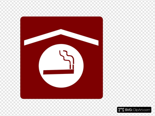 Hotel Icon Smoking Area Clip Art - Red/white SVG Clipart