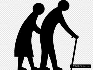Old People Crossing The Road SVG Clipart