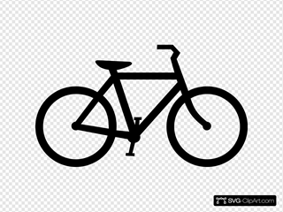 Black Bicycle Right Way SVG Clipart