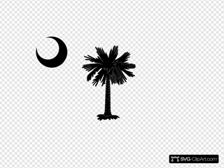 South Carolina State Flag Palmetto And Crescent Moon In Black