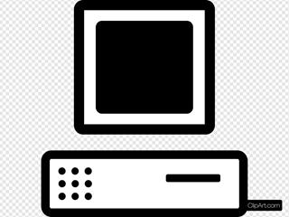 B W Cartoon Computer Base Monitor
