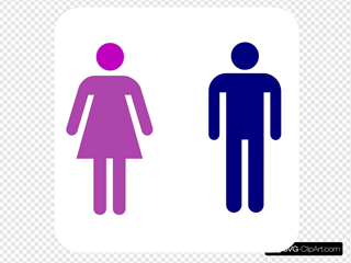 Large Man Woman Bathroom Sign