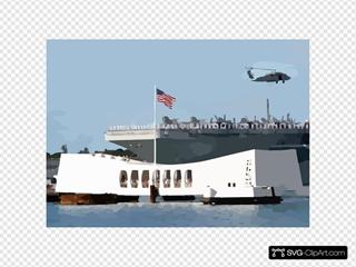 Uss Abraham Lincoln (cvn 72) Passes The Arizona Memorial In Pearl Harbor, Hawaii SVG Clipart