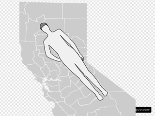 Man Shape Lying On California Map