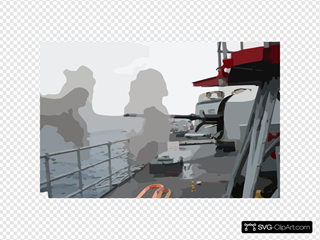 76mm Gun Mount On Navy Frigate Conducts Target Practice.