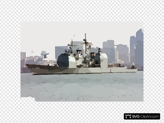 Uss Valley Forge (cg 50) Passes By The San Diego Skyline