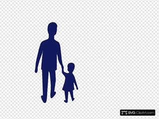 Blue Adult Child Holding Hands