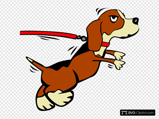 Dog On Leash Cartoon