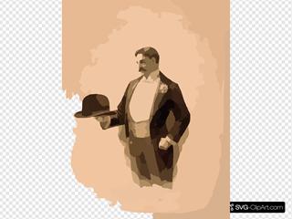 [man Wearing Tuxedo, Holding Bowler Hat]