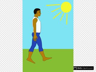 Man Walking Sunny Day