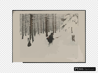 [a Man Walking In The Snow]  / Engelhart, 1904. SVG Clipart