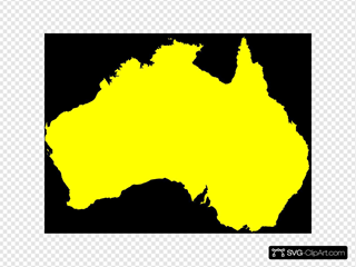 Australia Map Yellow Clipart