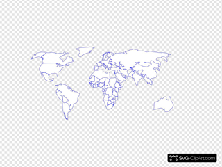 Black Purple Outline World Map No Background