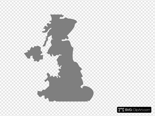 Silver Uk Map SVG Clipart