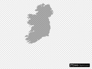 Grey Filled Map Of Ireland - No/trans SVG Clipart