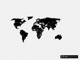 Black White Outline World Map