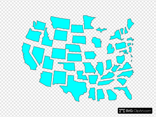 Turquoise U.s. Map Separated