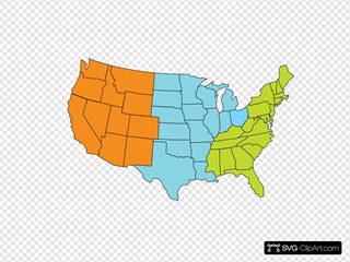 Three-region U.s. Map