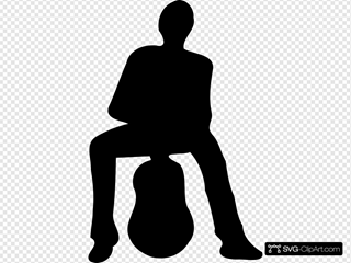 Silhouette Of Man And Guitar