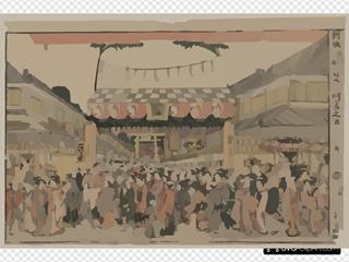 New Perspective Print: Festival At Shinmei Shrine In Shiba.