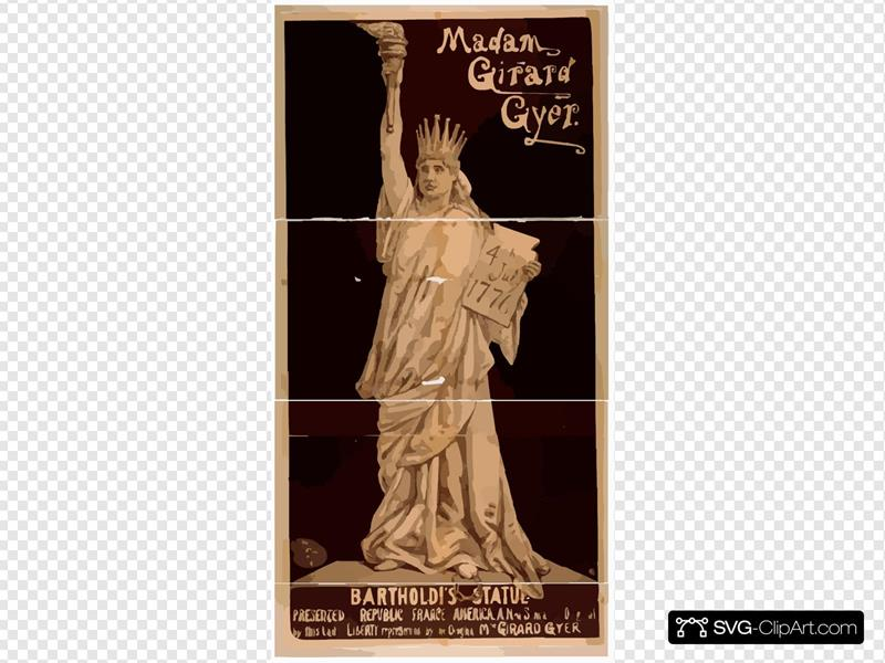 Madam Girard Gyer [as] Bartholdi S Statue Presented By The Republic Of France To America : A New Sensation, Original By This Lady : Liberty Represented By The Original Mme. Girard Gyer.
