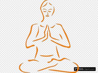 Orange Meditating Silohette