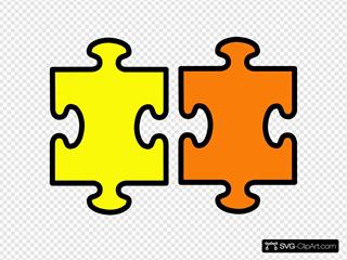 Puzzle Pieces Yellow And Orange