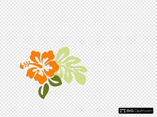 Orange Hibiscus W/ Leaves