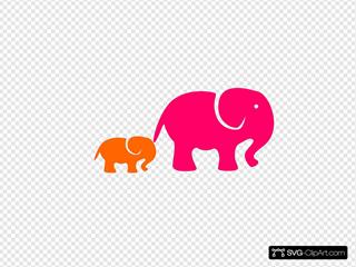 Pink ^ Organge  Elephants