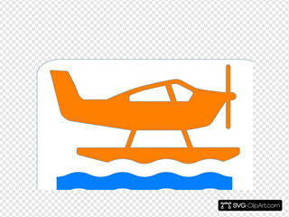 Orange Sea Plane SVG Clipart