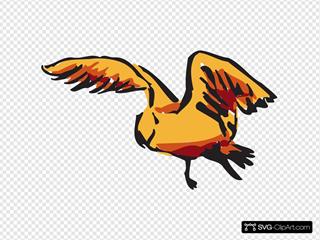 Orange And Red Flying Bird