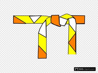 Judo Belt Orange, White, Yellow