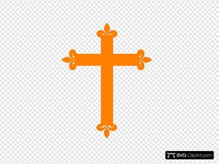 Fleur De Lis Cross - Orange