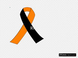 Black & Orange Motorcycle Awarness Ribbon