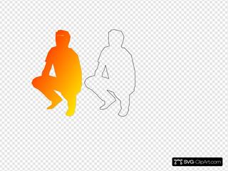 Orange Man Silohouette Squatting