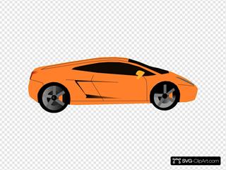 Orange Car (green Background)
