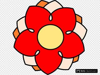 Red And Orange Cartoon Flower