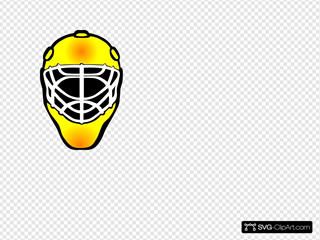 Orange Hockey Goalie Mask