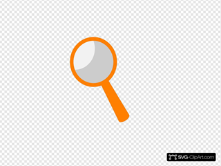 Magnifying glass orange. Clip art icon and