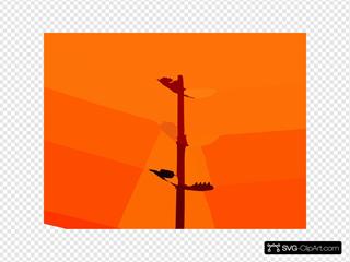 Power Lines Against Orange Sky Vector