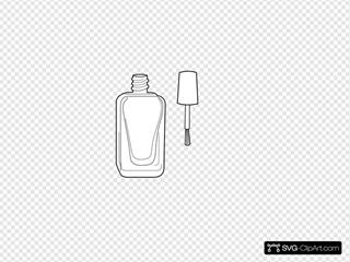 Nail Polish Bottle Black And White SVG Clipart