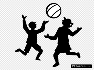 Silhouette Of Kids Playing With A Ball
