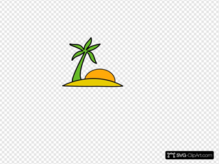 Island, Palm, And The Sun