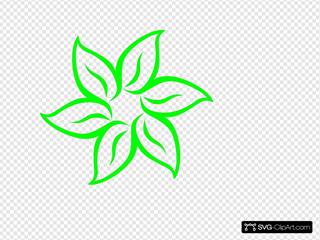 Lime Green Flower Outline