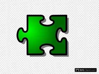 Green Jigsaw Piece 14