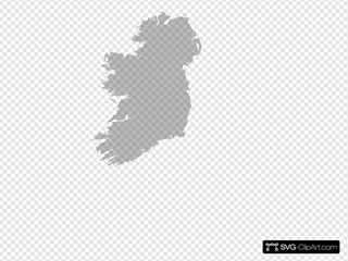 White Filled Map Of Ireland - Trans/no Outline SVG Clipart