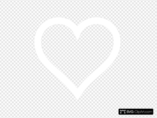 White Heart Outline Thick